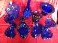 ELEVEN PIECES OF BLUE GLASS