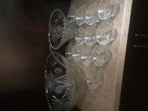 Excellent 2 glass punch bowls and matching cups
