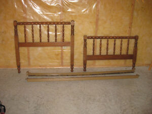 WOODEN BED FRAME WITH RAILS