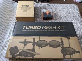 Alesis seven piece electronic drum kit set, stool and headphones