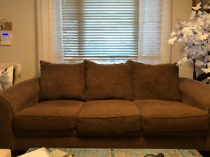 Brown Fabric Couch and Loveseat