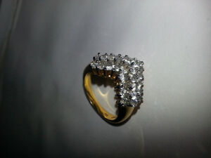 "Gold plated ring with real crystal ""diamonds"""