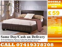 DOUBLE LEATHER BED FRAME WITH MEMOREY FOAM MATTRESS