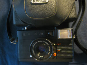 Konica C35 EFP Compact 35mm Camera with Leather Case