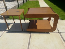 60s/70s coffee table/trolly + side table