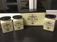 Tea coffee sugar and bread