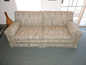 "Weaved Wool Patterned Navy Blue Beige Grey Couch 75"" x 35"" x 31"""