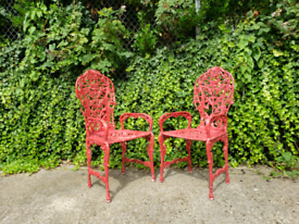 Vintage wrought iron heavy garden outdoor chairs
