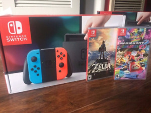 Switch with Zelda and Mario Cart