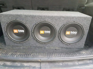 """Three 10"""" JBL subwoofers with Kenwood Amp"""