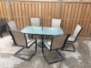 Summer is coming  7 pcs steel patio furniture
