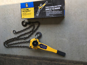 Two 1 1/2 ton lever chain hoists