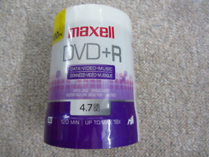 Sealed Spindle of 100 Blank DVD +R Discs - Maxell