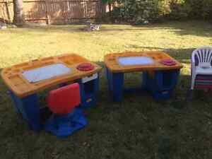 Two Art tables for children plus 5 little chairs.