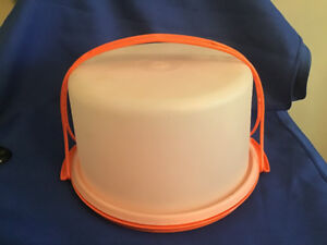Vintage Orange Tupperware Cake Taker 1970's