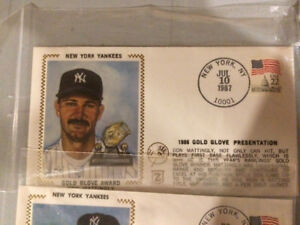 1983 and '87 Lot of 5 Baseball Silk Cachets with Stamps