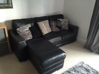 Leather Left hand chaise sofa + 2 seater