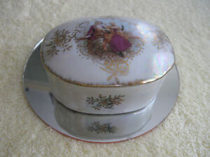 "JAPANESE-MADE VINTAGE ""MINI"" CHINA LUSTRE COVERED TRINKET BOX"