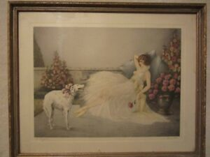 Courcelles Vintage Art Deco Lithograph, Signed