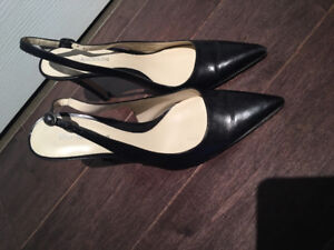 Enzo Angiolini Black Leather Slingback Pumps (size 7.5M)