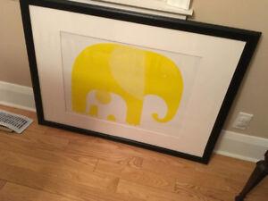 Framed mama and baby elephant