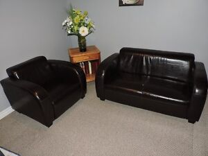 Faux Leather Love Seat & Chair - Low Profile