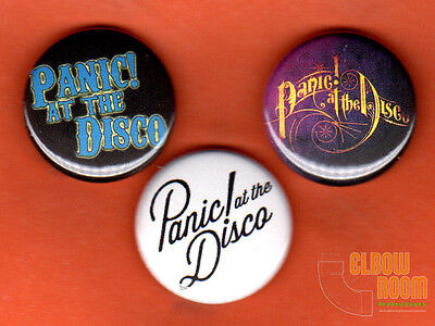 "Set of three 1"" Panic at the Disco pins buttons rock band alternative"