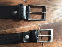 Two Italian leather black belts - Elegant/Casual Style