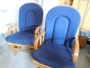 two reclining pine chairs
