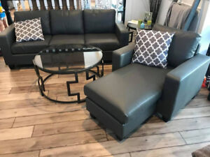 **BRAND NEW IN BOXES** CHAISE COUCH SOFA SET W/ ARM CHAIR