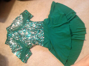 Green Sequence Body Suit with Skirt