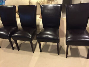 4 LEATHER DINING CHAIRS (ESPRESSO COLOURED)