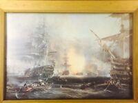 Beautifully framed battle at sea print