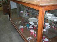 CIRCA 1910 OAK FRAME GLASS SIDES GENERAL STORE SHOWCASE $1000.00