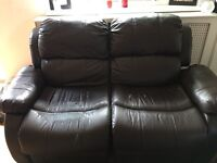Leather 2 seater recliner sofa brown