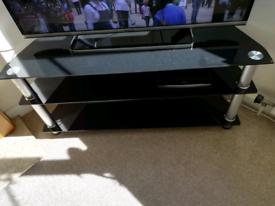 Black glass and chrome corner tv stand