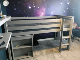 Grey Wooden Cabin Bed with Desk