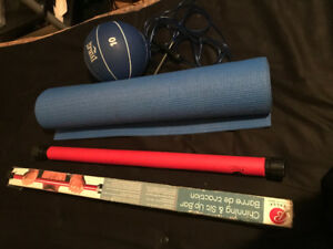 2 chin/sit up bars,2TankTops, Yoga Mat, 10LBS Ball,Skipping Rope