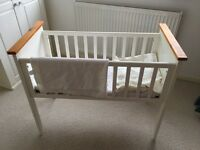 Beautiful cream and wood cot