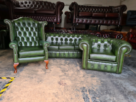Antique Green Chesterfield 3 Piece Suite