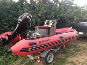 14' MERCURY INFLATABLE WITH 2008 SUZUKI 40HP LOW HOURS