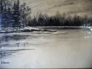 "Original Northern Landscape Watercolor by K.Rooney  ""Shoreline"" Stratford Kitchener Area image 3"