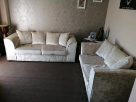 Sofa 3 + 2 crushed velvet sofas champagne colour