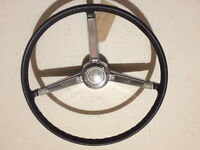 66/67 Chevelle Black/Chrome 3 Spoke  Steering Wheel