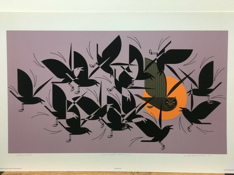 Charley Harper Owltercation Owl & Crows Signed Serigraph Art Print