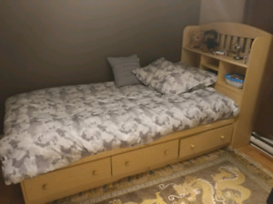 Single bed with bookshelf and drawers