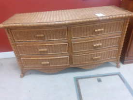 Vintage retro bamboo double bank of drawers