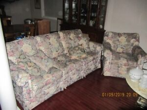 Flowered Couch and Chair