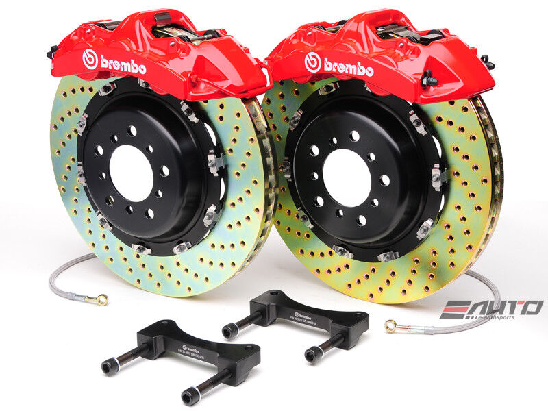 Brembo Front Gt Brake Bbk 6pot Red 380x32 2pc Drill Disc Rotor Mustang 05-13