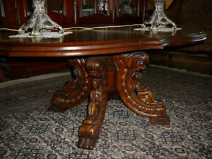 superbe table de salon antique/1940 acajou, Rococo Italien/ main